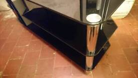 LARGE TV STAND BLACK AND CHROME