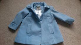 Powder Blue Girls Wool Coat age 18-24 months - Excellent Condition