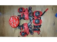 Boys skates, helmet, elbow and knee pads