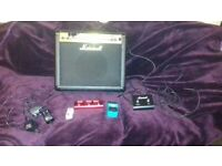 Guitar Lot: Marshall Amp, 3 guitar effects pedals