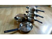 Set of copper-bottom saucepans