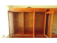 Two piece Good Quality wood and veneer Glazed Display Cabinet . Very good condition
