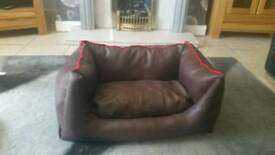 Homemade faux leather pet bed