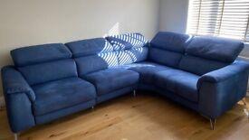 Blue Reclining Corner Sofa