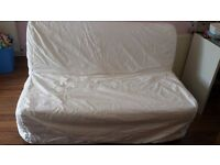 Ikea lycksele sofa bed double with white cover