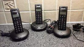 Set of 3 Graphite home phones.