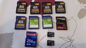 SD and MicroSD Cards 256MB 1GB 4GB 8GB - £10
