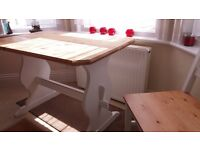 Cute Bench Style Dining Table and Two Chairs in White and Natural