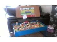 New wooden train table with accesseries