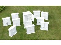 13 WHITE CABINETS IDEAL FOR STORAGE IN GARAGES AND SHEDS ETC