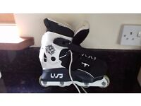 One Pair USD aggressive skates. Size 3.5 - 6. In excellent condition