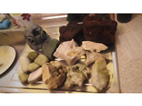 ocean rock, lava rock and stones etc, as seen in pics, plus a 4ft background and a fish book.