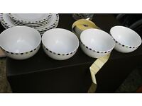 Desert Pudding Bowls - Set of 4 - White and spotty Sainsburys