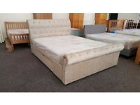 Ravello Deep Button Scroll King Size Fabric Bed with 2 Storage Drawers **CAN DELIVER**