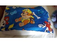 Cot bed size duvet and pillow. With paw patrol duvet set
