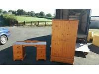 Solid pine wardrobe + dressing table £95 delivered