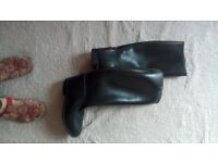 """womens size 7 black rubber riding boot """"AIGLE"""""""