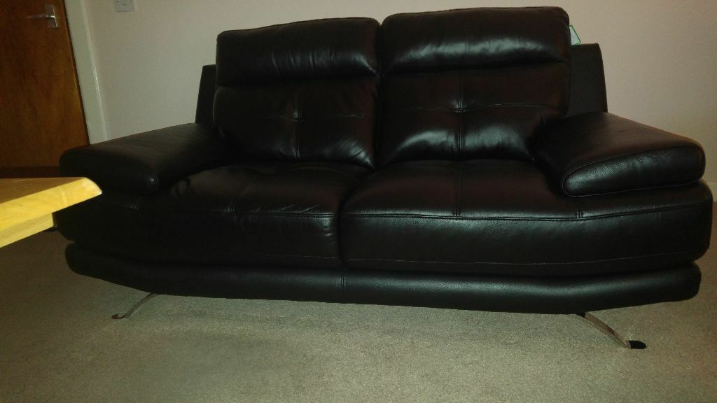 genoa 2 seater leather sofa black in coatbridge north lanarkshire