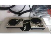 Pair of Technics SL-1200 Mk2 Turntables