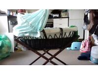 Baby moses basket and stand with baby play mat and microwave steriliser