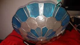 Unique real shell blue light shade