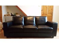 3 seater italian leather sofa. Some wear and tear on one seat otherwise excellent condition