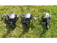 3x Shimano long cast big pit carp reels