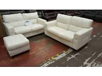 White leather 2 x 2 Seater Sofa with footstool