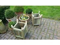 Handmade Garden Planter with Decorative Finials
