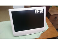 "White 19"" LCD TV with built in DVD player HDMI VGA"