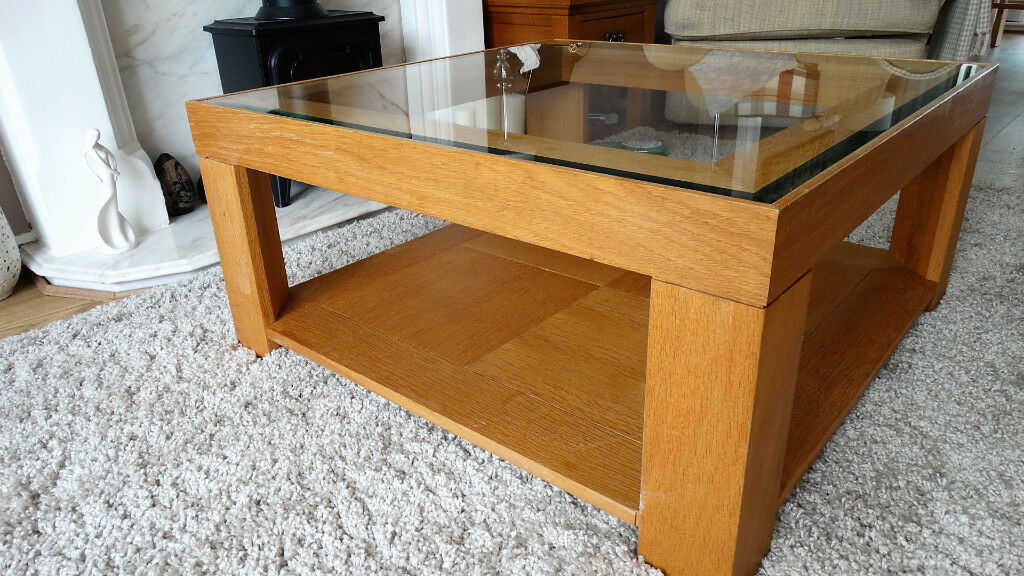 M S Solid Oak Glass Coffee Table