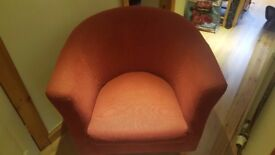 Material covered bucket chair - terracotta