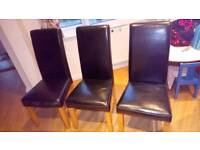Set of 3 leather chairs for sale