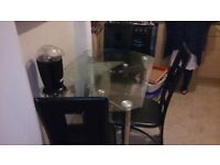 DINING TABLE WITH 3 LEATHER CHAIRS ONE RIPPED OTHERWISE IN GREAT CONDITION GREAT BUY MUST SEE