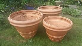 3 pvc terra cotta look alike pots