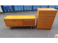 Vintage Retro Mid Century Danish Style Teak Sideboard And Matching Chest ,Delivery