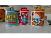 Retro tea coffee sugar jars