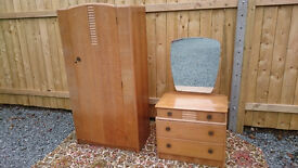 Vintage stag dressing drawers and wardrobe 2 piece bedroom set