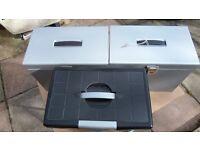 3 Filing Boxes 2 Metal with Keys 1 Plastic (no Key)