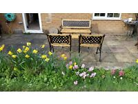 ANTIQUE REFURBISHED CAST IRON GARDEN TABLE AND CHAIRS