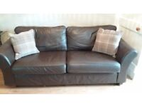 3 SEAT leather sofa in great condition, brown leather