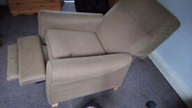 FREE Ikea recliner. It has some stains and cat scratch damage. It needs to go today
