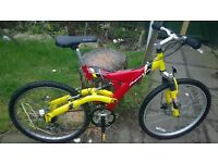 MOUNTAIN BIKE, RED AND YELLOW, £30 THROSK