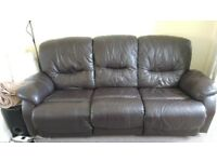3 Seater BROWN leather recliner sofa