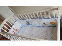 John Lewis white cot plus mattress for sale.
