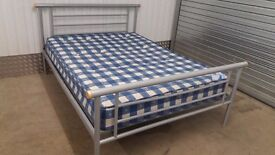 Metal Double Bed Frame + Mattress, good condition !!! DELIVERY AVAILABLE !!!