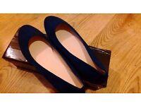 【Women Shoes】royal blue, flat suede, size 7.5