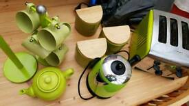 Green Kitchen Set, toaster, kettle, cups etc
