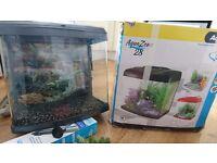 Panoramic 28L fish tank aquarium plus filter, light, backdrop, gravel, decorations