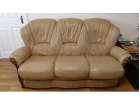 Light brown italian Leather two settee and three settee settee